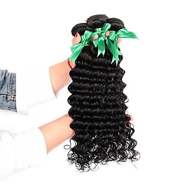 3 δεσμίδες Βραζιλιάνικη Βαθύ Κύμα Φυσικά μαλλιά Υφάνσεις ανθρώπινα μαλλιών Υφάνσεις ανθρώπινα μαλλιών Επεκτάσεις ανθρώπινα μαλλιών / 8A