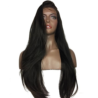 Human Hair Glueless Full Lace / Full Lace Wig Brazilian Hair Straight / Yaki Wig Bob Haircut / Baby Hair 130% / 150% Natural Hairline / Middle Part / 100% Virgin Women's Short / Medium Length