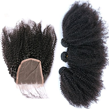 povoljno Ekstenzije od ljudske kose-3 paketi s zatvaranjem Brazilska kosa Afro Kinky Virgin kosa Kosa potke zatvaranje Isprepliće ljudske kose Proširenja ljudske kose / 10A