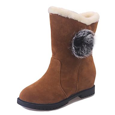 Mujer Zapatos Vellón Primavera Otoño Confort Botas de nieve Forro de piel Botas Dedo redondo Mitad de Gemelo Con Cordón para Casual Negro qvu5bt