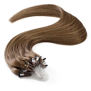 Neitsi Εξτένσιον με Μικρούς Κρίκους Επεκτάσεις ανθρώπινα μαλλιών Ίσιο Φυσικά μαλλιά Βραζιλιάνικη Καφέ Φυσικό Χρώμα 1pack Γυναικεία Καστανό Καφέ