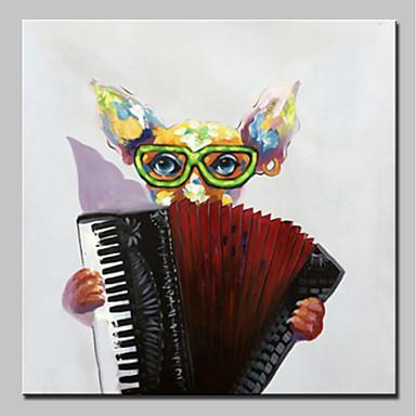 povoljno Ulja na platnu-Hang oslikana uljanim bojama Ručno oslikana - Pop art Životinje Jednostavan Moderna Uključi Unutarnji okvir / Prošireni platno
