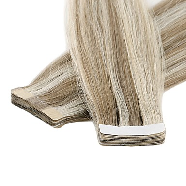 voordelige Extensions van echt haar-Neitsi Tape-in Extensions van echt haar Recht Echt haar Euro-Aziatisch haar 1pack Dames Vrouw Medium bruin