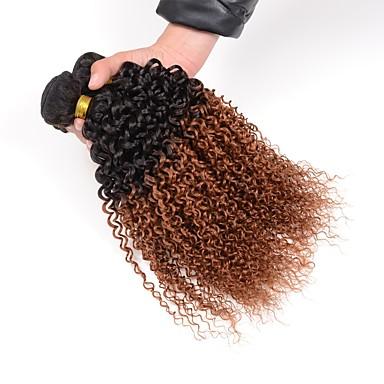 povoljno Ekstenzije od ljudske kose-3 paketa Brazilska kosa Kinky Curly Virgin kosa Ombre Ombre Isprepliće ljudske kose Proširenja ljudske kose / 10A