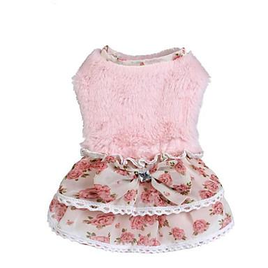 Γάτα Σκύλος Πουλόβερ Φορέματα Χειμώνας Ρούχα για σκύλους Ροζ Μπεζ Στολές Τερυλίνη Δραστική Εκτύπωση Patchwork Στυλάτο Sweet Style Τ M L