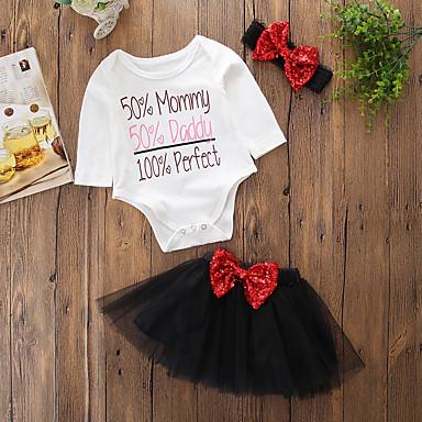 povoljno Odjeća za bebe-Dijete Djevojčice Jednostavan Rođendan / Dnevno / Vikend Jednobojni / Print Dugih rukava Regularna Normalne dužine Pamuk Komplet odjeće Crn / Dijete koje je tek prohodalo