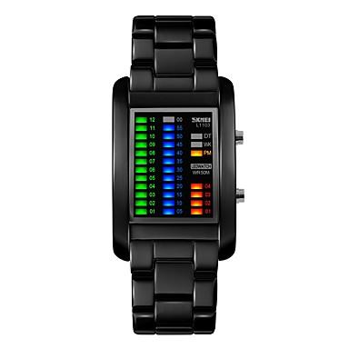 저렴한 정사각형 및 직사각형 시계-SKMEI 커플용 스포츠 시계 스퀘어 시계 디지털 사치 방수 블랙 / 실버 디지털 - 블랙 실버 / 야광