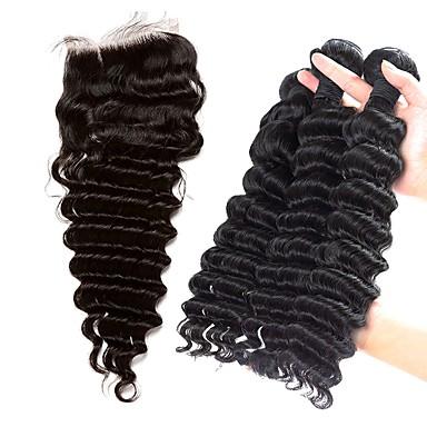 povoljno Ekstenzije od ljudske kose-3 paketi s zatvaranjem Brazilska kosa Duboko Val Ljudska kosa Kosa potke zatvaranje Isprepliće ljudske kose Proširenja ljudske kose / 8A
