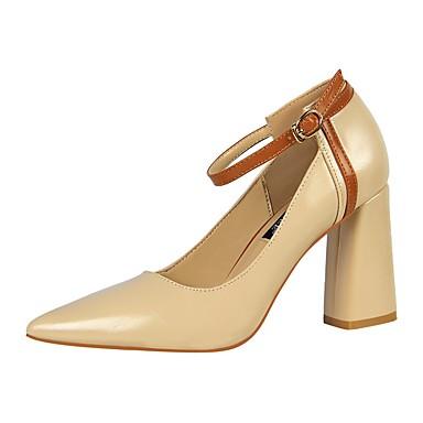 Mujer Zapatos Cuero Patentado Primavera verano Gladiador Tacones Tacón Cuadrado Dedo Puntiagudo Remache Negro / Rojo / Almendra / Fiesta y Noche Ew8EvkTbw