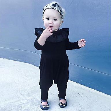 povoljno Odjeća za bebe-Dijete Djevojčice Jednostavan Dnevno Jednobojni Kratkih rukava Pamuk / Lan / Bambus vlakna Kombinezon Crn