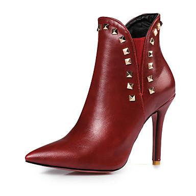 Mujer Zapatos Semicuero Primavera / Otoño Botas de Moda Botas Tacón Stiletto Dedo Puntiagudo Botines / Hasta el Tobillo Remache Negro / Meilleur Endroit À Vendre ghLbKCxxuj