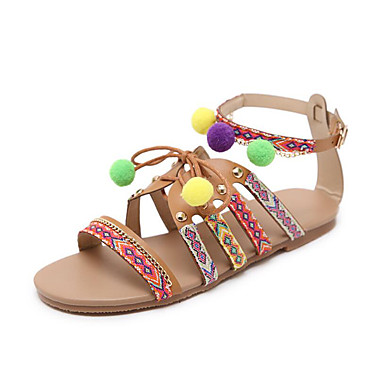 a498c817d Shoes Synthetic Microfiber PU Spring   Summer Slingback   Basic Pump    Ankle Strap Sandals Flat Heel Open Toe Beading   Ribbon Tie   Animal Print  Light Blue ...