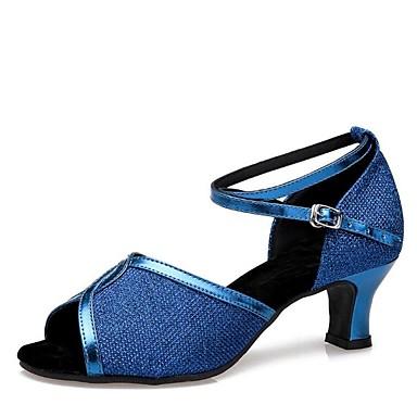 Chaussures de danse(Noir / Bleu / Rouge / Argent / Or) -Personnalisables-Talon Personnalisé-Paillette Brillante-Latine / Salsa , blue , us6.5-7 / eu37 / uk4.5-5 / cn37