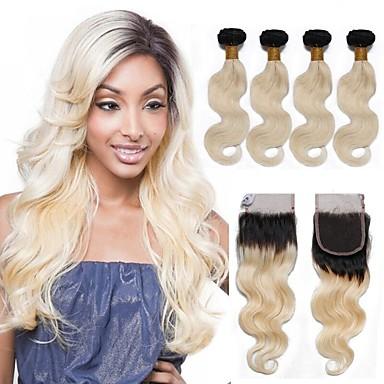 povoljno Ekstenzije od ljudske kose-4 paketića Brazilska kosa Tijelo Wave Remy kosa Ombre Ombre Isprepliće ljudske kose Proširenja ljudske kose / 10A