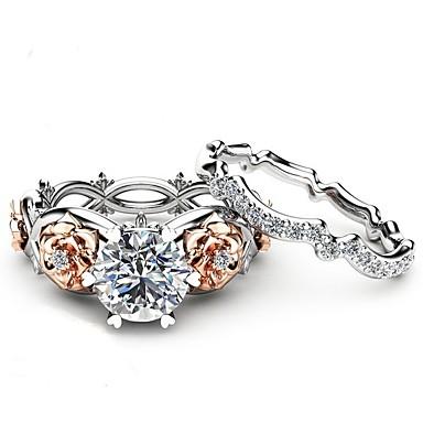 billige Motering-Dame Band Ring Kubisk Zirkonium High End Crystal 2pcs Sølv Zirkonium Sølv Sirkelformet Vintage Grunnleggende Mote Bryllup Engasjement Smykker Dråpe Blomst