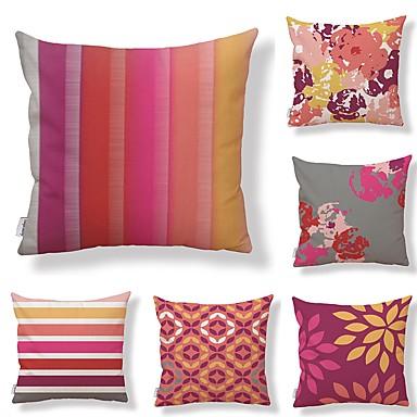 billige Putevar-6 stk Tekstil Bomull / Lin Putecover, Blomstret Geometrisk Trær / Blader