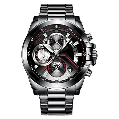 levne Pánské-CADISEN Pánské Náramkové hodinky Křemenný Nerez Černá / Bílá 30 m Voděodolné Kalendář Stopky Analogové Módní - Černá Černá / Bílá Dva roky Životnost baterie / Svítící