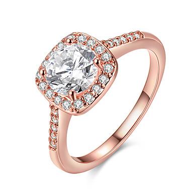 levne Dámské šperky-Dámské Vyzvánění Zásnubní prsten Belle Ring Diamant Kubický zirkon 1ks Zlatá Stříbrná Růžové zlato Postříbřené Pozlacené dámy Evropský Pro nevěstu Svatební Párty Šperky Solitaire Kulaté HALO láska