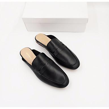 Mujer Zapatos Cuero de Napa Verano Confort Zuecos y pantuflas Tacón Plano Punta cerrada Blanco / Negro SXpxO7N