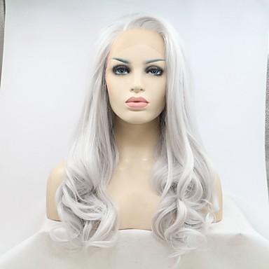Συνθετικές μπροστινές περούκες δαντέλας Φυσικό Κυματιστό Kardashian Στυλ Πλευρικό μέρος Δαντέλα Μπροστά Περούκα Ασημί Ασημί Συνθετικά μαλλιά 20-24 inch Γυναικεία Φυσική γραμμή των μαλλιών Ασημί / Ναι