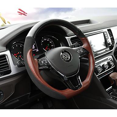 levne Doplňky do interiéru-Potahy na volant Pravá kůže 38 cm Černá / Kávová Pro Volkswagen Teramont 2017