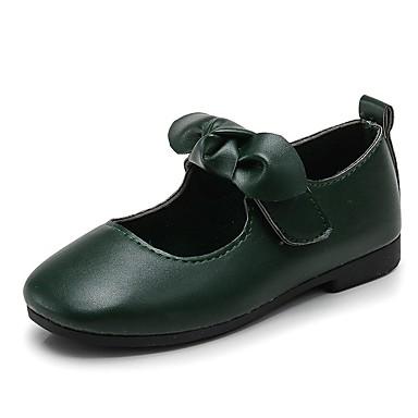 preiswerte Schuhe für Kinder-Mädchen Komfort / Schuhe für das Blumenmädchen Kunstleder Flache Schuhe Kleine Kinder (4-7 Jahre) Schleife / Klettverschluss Schwarz / Braun / Dunkelgrün Frühling / Herbst