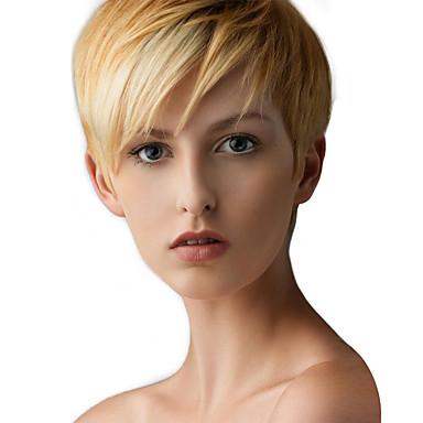 Ανθρώπινη Τρίχα Περούκα Κοντό Ίσιο Κούρεμα νεράιδας Ίσια Πλευρικό μέρος Μηχανοποίητο Γυναικεία Μαύρο Μεσαία Auburn Μπεζ Ξανθιά / Bleached Blonde 8 Ίντσες