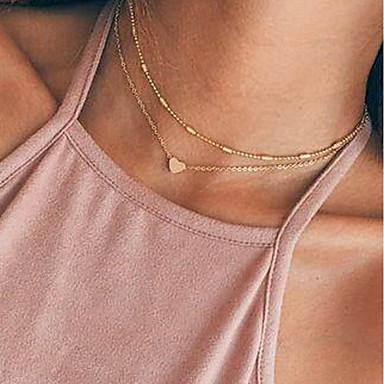 Γυναικεία Κρεμαστά Κολιέ Πολυεπίπεδο Καρδιά κυρίες Πολυεπίπεδο Κράμα Χρυσό Ασημί Κολιέ Κοσμήματα 2 Για Δώρο Καθημερινά