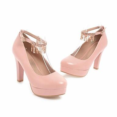 Mujer Zapatos PU Otoño Confort / Pump Básico Tacones Tacón Cuadrado Marrón / Rojo / Rosa Jhh7NmMcHX