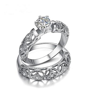 voordelige Herensieraden-Voor Stel Ringen voor stelletjes Diamant Kubieke Zirkonia 2pcs Wit Verguld Modieus Bruids Bruiloft Lahja Sieraden Kroon