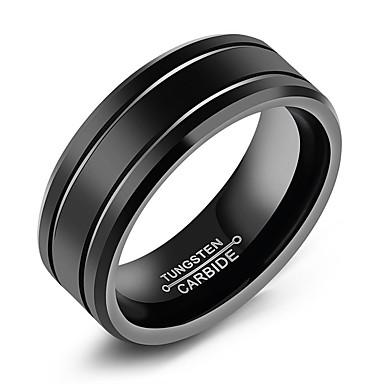 levne Pánské šperky-Pánské Band Ring Groove kroužky Černá Titanová ocel Volframová ocel Titan Circle Shape Módní počáteční šperky Denní Formální Šperky Klasika Klasický motiv