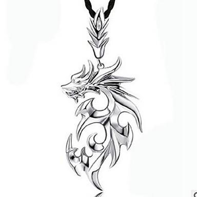 voordelige Herensieraden-Heren Hangertjes ketting Draak Koreaans Hip-hop satanisch Leder Legering Wit Zilver Kettingen Sieraden 1 Voor Dagelijks