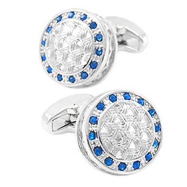 cheap Men's Cufflinks-Cufflinks Casual Basic Crystal Brooch Jewelry Blue For Daily Formal