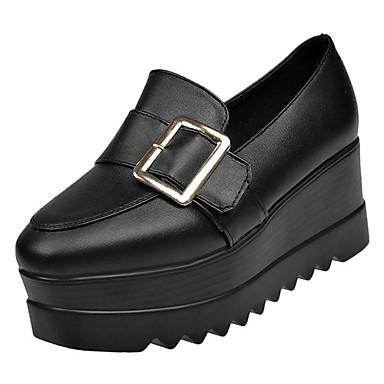 Mujer Zapatos Cuero Otoño invierno Confort Zapatos de taco bajo y Slip-On Media plataforma Blanco / Negro / Fiesta y Noche X1iiUdbNIk