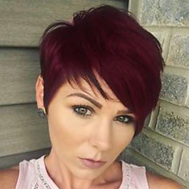 Ανθρώπινη Τρίχα Περούκα Κοντό Ίσιο Κούρεμα νεράιδας Σύντομα Hairstyles 2019 Με αφέλειες Berry Ίσια Πλευρικό μέρος Μηχανοποίητο Μαύρο Μεσαία Auburn σκούρο κρασί 8 Ίντσες