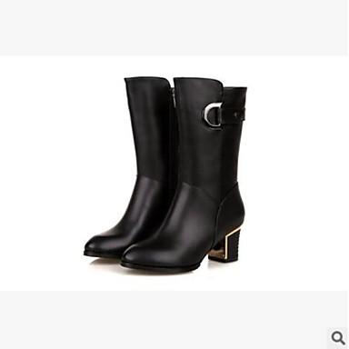 Mujer Zapatos Cuero de Napa Otoño invierno Confort / Botas de Combate Botas Tacón Cuadrado Punta cerrada Mitad de Gemelo Negro Asi9RpkNG