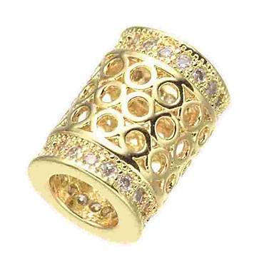 DIY Κοσμήματα 1 τεμ Ștrasuri Προσομειωμένο διαμάντι Κράμα Χρυσό Ασημί Χρυσό Τριανταφυλλί Κύλινδρος Χάντρα 0.5 cm DIY Κολιέ Βραχιόλια