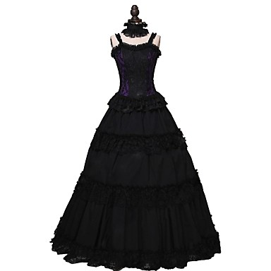 Rococo Victorian Στολές Φορέματα Μαύρο Πεπαλαιωμένο Cosplay Ίνες βαμβακιού Αμάνικο Κρύος ώμος Μέχρι τον αστράγαλο