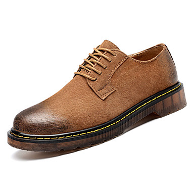Hombre Zapatos Cuero de Cerdo / PU Otoño Confort Oxfords Negro / Gris / Marrón BdH8Z2H