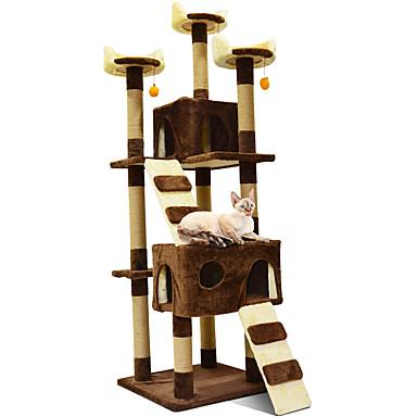 preiswerte Katzenhygiene & Weltkarten zum Auskratzen-Katze Kratz & Ritz Kunst Hanfseil Holz Plüsch Haustiere Einsätze Solide Modisch Multifunktions Springen Mehrlagig Braun Beige Dunkelblau Für Haustiere