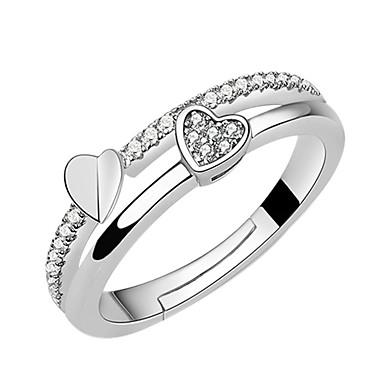 Γυναικεία Δακτύλιος Δήλωσης Eternity Ring Cubic Zirconia μικροσκοπικό διαμάντι Ασημί Κράμα κυρίες Μοντέρνα Αρραβώνας Καθημερινά Κοσμήματα Καρδιά