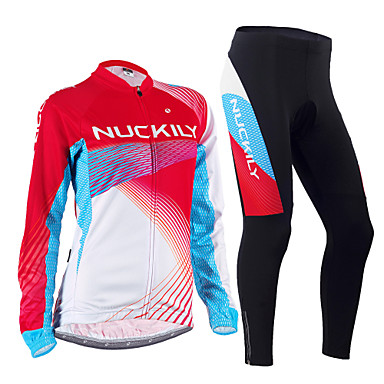 d02656c72 Nuckily Men s Women s Long Sleeve Cycling Jersey with Tights - Red Bike  Clothing Suit Thermal   Warm Windproof Fleece Lining Breathable Anatomic  Design ...