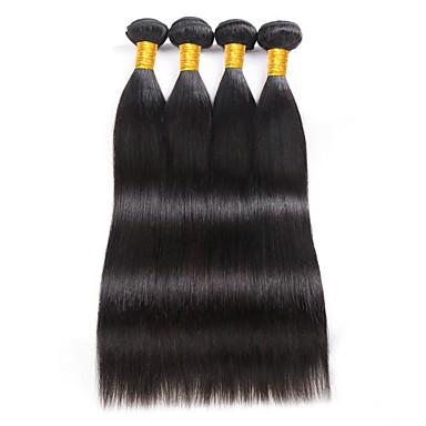 povoljno Ekstenzije od ljudske kose-4 paketića Brazilska kosa Ravan kroj Ljudska kosa Ljudske kose plete 8-28 inch Isprepliće ljudske kose Proširenja ljudske kose / 8A
