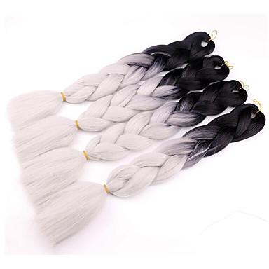 Μαλλιά για πλεξούδες Ίσιο Afro Πλεκτά Πλεξούδες Jumbo 4 τεμάχια / πακέτο μαλλιά Πλεξούδες Μακρύ Afro Αλογοουρά