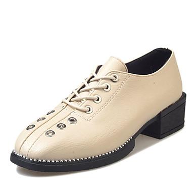 Mujer Zapatos PU Otoño Confort Oxfords Paseo Talón de bloque Dedo redondo Negro / Marrón oo4c6X