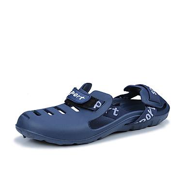 สำหรับผู้ชาย รองเท้าสบาย ๆ Synthetics ฤดูร้อน ไม่เป็นทางการ รองเท้าแตะ วสำหรับเดิน ระบายอากาศ สีดำ / ฟ้า / สีเทา / กลางแจ้ง