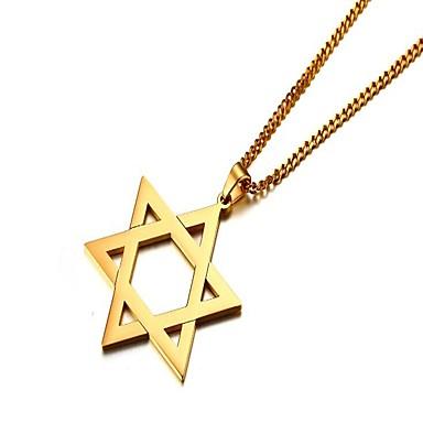 povoljno Modne ogrlice-Muškarci Ogrlice s privjeskom Csillag Zvijezda Davida Pentagram Jednostavan škotski Tikovina nehrđajući Zlato Pink Ogrlice Jewelry 1 Za Dar Dnevno