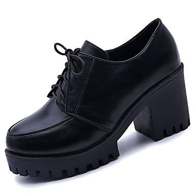 Mujer Zapatos PU Otoño / Invierno Confort Oxfords Tacón Plano Negro / Rojo ro4LafH535