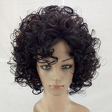 Perucas sintéticas Kinky Curly Crespo Cacheado Peruca Médio Marrom Cabelo Sintético Cabelo com Luzes / Reflexos Marrom hairjoy