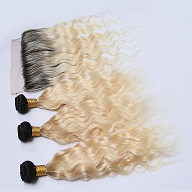 povoljno Ekstenzije od ljudske kose-3 paketi s zatvaranjem Brazilska kosa Wavy Remy kosa Ombre Ombre Isprepliće ljudske kose Proširenja ljudske kose